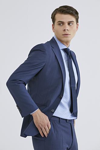 Ds Damat Slim Fit Slim Fit Lacivert Ekoseli Takım Elbise - 8681779864028 | D'S Damat