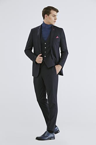 Twn Slim Fit Lacivert Düz Yelekli Takım Elbise - 8682060667830 | D'S Damat
