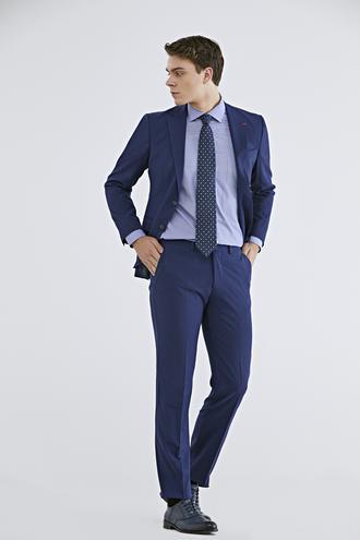 Ds Damat Slim Fit Saks Mavi Düz Travel Takım Elbise - 8682060154361 | D'S Damat