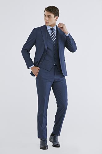 Ds Damat Slim Fit Slim Fit Lacivert Düz Yelekli Takım Elbise - 8682060148643 | D'S Damat
