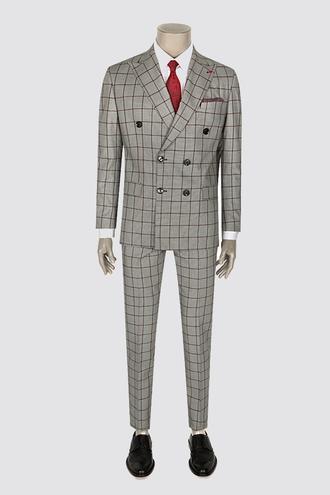Ds Damat Slim Fit Slim Fit Gri Ekoseli Takım Elbise - 8681779336389 | D'S Damat