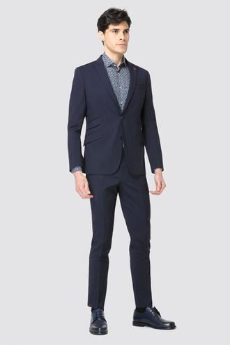 Twn Slim Fit Slim Fit Lacivert Çizgili Takım Elbise - 8681779649069 | D'S Damat