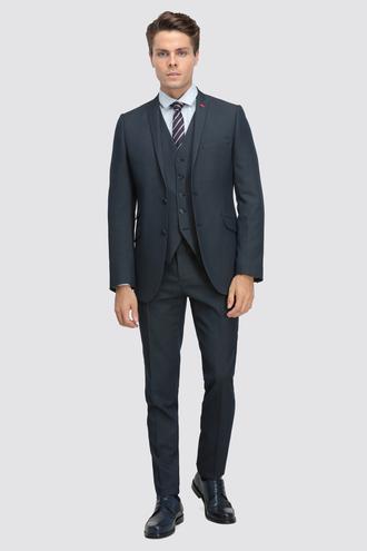 Twn Slim Fit Slim Fit Lacivert Armürlü Yelekli Takım Elbise - 8681779595359 | D'S Damat