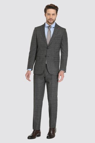 Ds Damat Regular Fit Slim Fit Antrasit Ekoseli Takım Elbise - 8682060030191 | D'S Damat