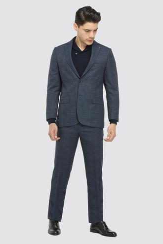 Ds Damat Regular Fit Slim Fit Lacivert Ekoseli Takım Elbise - 8682060029683 | D'S Damat