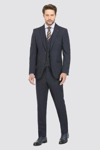 Ds Damat Regular Fit Slim Fit Lacivert Yelekli Takım Elbise - 8682060031310 | D'S Damat