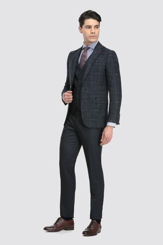 Ds Damat Slim Fit Slim Fit Lacivert Ekoseli Kombinli Takım Elbise - 8681779864714 | D'S Damat