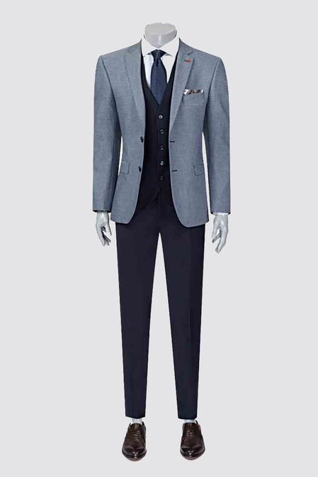 Twn Slim Fit Slim Fit Lacivert Armürlü Kombinli Takım Elbise - 8682060140906 | D'S Damat