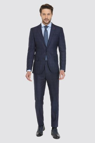 Ds Damat Slim Fit Lacivert Ekoseli Takım Elbise - 8681779510314 | D'S Damat