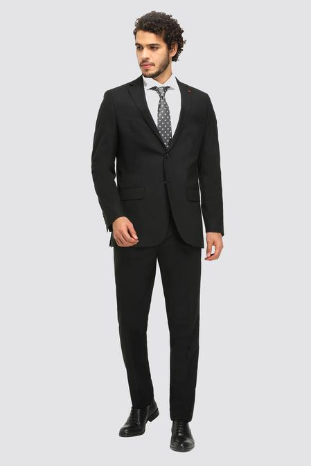 Ds Damat Slim Fit Siyah Düz Travel Takım Elbise - 8681779836766 | D'S Damat