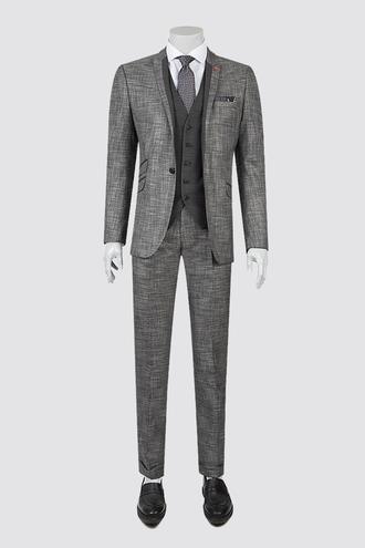 Twn Slim Fit Slim Fit Siyah Armürlü Kombinli Takım Elbise - 8681779860327 | D'S Damat