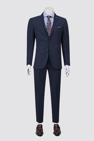Twn Slim Fit Lacivert Armürlü Takım Elbise - 8681779860211 | D'S Damat