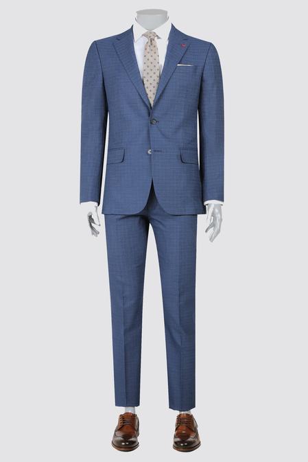 Ds Damat Slim Fit Lacivert Armürlü Takım Elbise - 8681779870951 | D'S Damat
