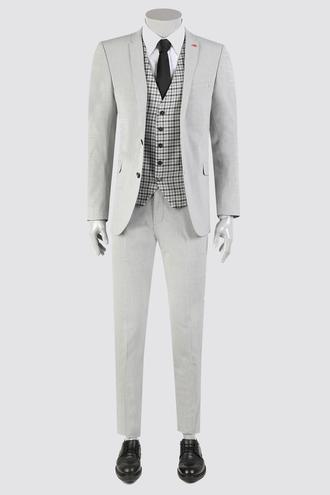 Twn Slim Fit Gri Armürlü Kombinli Takım Elbise - 8682060363824   D'S Damat