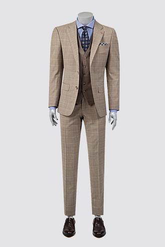 Ds Damat Slim Fit Bej Ekoseli Kombinli Takım Elbise - 8681779321934 | D'S Damat