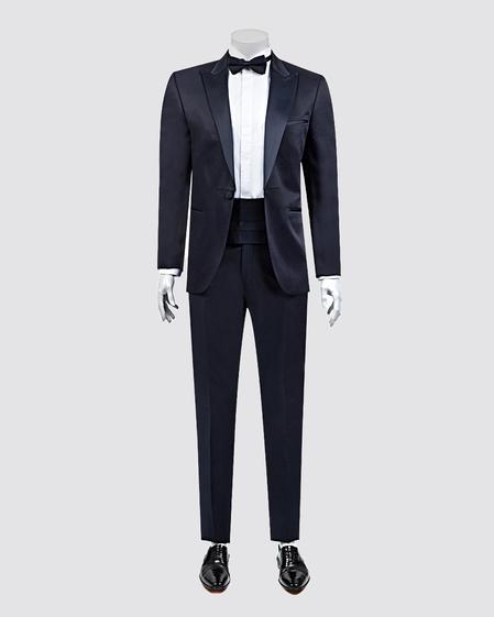 Ds Damat Slim Fit Slim Fit Lacivert Jakar Desenli Smokin Takım Elbise - 8681778051832 | D'S Damat