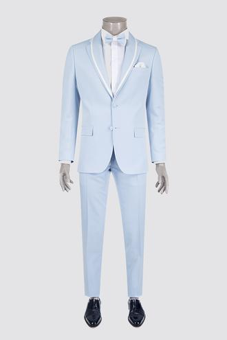 Ds Damat Slim Fit Slim Fit Mavi Düz Smokin Takım Elbise - 8681778239230 | D'S Damat