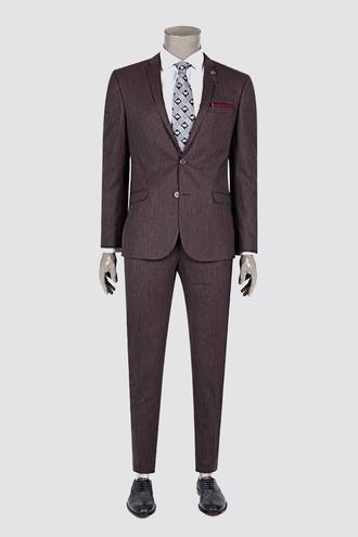 Twn Süper Slim Fit Slim Fit Bordo Desenli Takım Elbise - 8681778563465 | D'S Damat