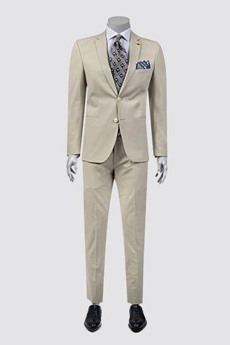 Twn Süper Slim Fit Slim Fit Bej Armürlü Takım Elbise - 8681778939048 | D'S Damat