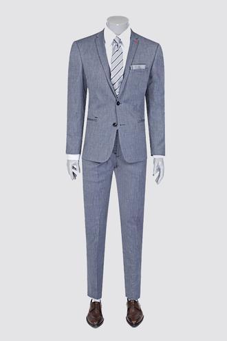Twn Süper Slim Fit Slim Fit İndigo Desenli Takım Elbise - 8681778939437 | D'S Damat