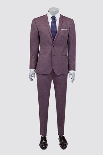 Twn Süper Slim Fit Bordo Armürlü Takım Elbise - 8681778939543 | D'S Damat