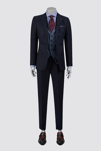 Ds Damat Slim Fit Slim Fit Lacivert Armürlü Kombinli Takım Elbise - 8682060395856 | D'S Damat