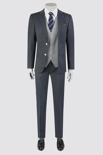 Ds Damat Slim Fit Lacivert Armürlü Kombinli Takım Elbise - 8682060395634 | D'S Damat