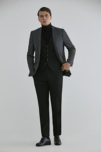 Twn Slim Fit Antrasit Armürlü Kombinli Takım Elbise - 8682060739698 | D'S Damat