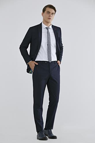 Twn Slim Fit Lacivert Düz Travel Takım Elbise - 8682060361820 | D'S Damat