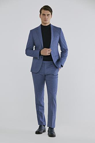 Ds Damat Slim Fit Lacivert Kareli Takım Elbise - 8682060389930 | D'S Damat