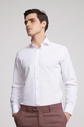 Ds Damat Slim Fit Beyaz Düz Gömlek - 8682060401649 | D'S Damat