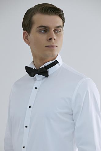 Ds Damat Slim Fit Beyaz Düz Smokin Gömlek - 8682445036893 | D'S Damat