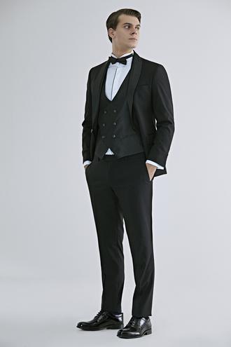 Ds Damat Slim Fit Slim Fit Siyah Düz Smokin Yelekli Takım Elbise - 8682060136824 | D'S Damat