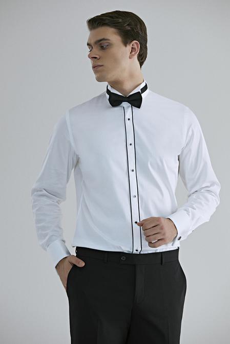 Ds Damat Slim Fit Beyaz Düz Smokin Gömlek - 8682060676009 | D'S Damat