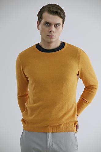 Ds Damat Slim Fit Sarı Pirinç Örgü Kazak - 8682060923868 | D'S Damat