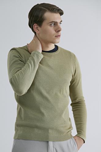 Ds Damat Slim Fit Yeşil Pirinç Örgü Kazak - 8682060923714 | D'S Damat