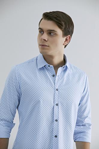 Twn Slim Fit Mavi Baskılı Gömlek - 8682060836250 | D'S Damat