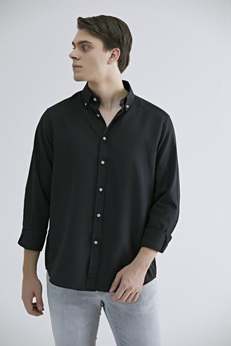 Ds Damat Regular Fit Siyah Düz Gömlek - 8682060709660   D'S Damat