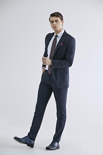 Ds Damat Regular Fit Lacivert Armürlü Takım Elbise - 8682445401240 | D'S Damat