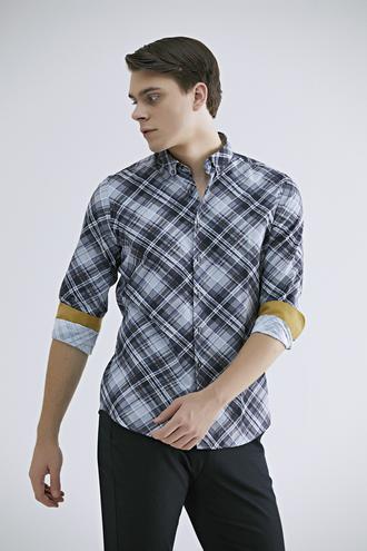 Twn Slim Fit Karma Renk Baskılı Gömlek - 8681779638056 | D'S Damat