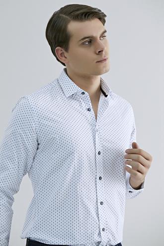 Twn Slim Fit Beyaz Baskılı Gömlek - 8682060836243 | D'S Damat