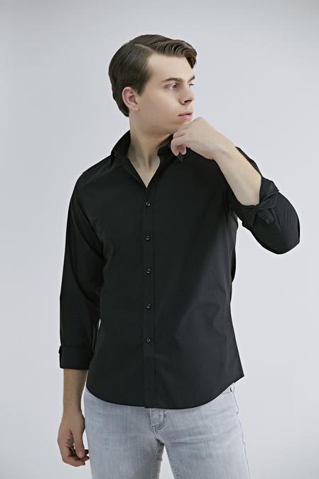 Twn Slim Fit Siyah Düz Gömlek - 8682445300789 | D'S Damat