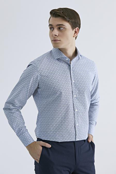 Ds Damat Slim Fit Beyaz Baskılı Gömlek - 8681779625490 | D'S Damat