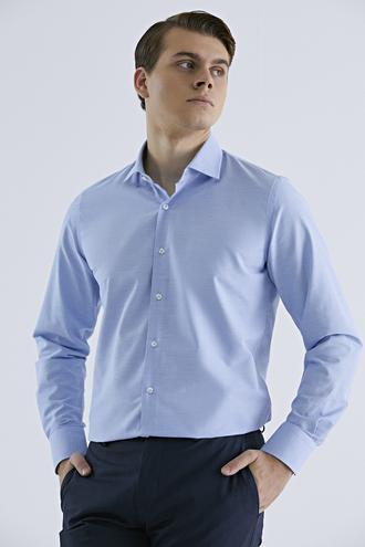 Ds Damat Slim Fit Mavi Armürlü Gömlek - 8682060894458 | D'S Damat
