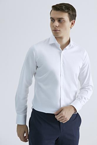 Ds Damat Slim Fit Beyaz Düz Gömlek - 8682445046915 | D'S Damat