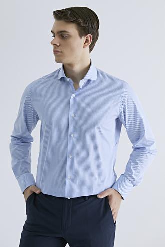 Ds Damat Slim Fit Mavi Çizgili Gömlek - 8682060926234 | D'S Damat