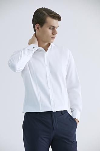 Ds Damat Slim Fit Beyaz Düz Gömlek - 8682060704818 | D'S Damat
