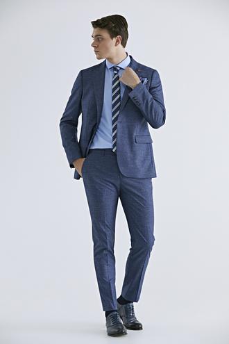 Twn Slim Fit Lacivert Armürlü Takım Elbise - 8682060080868 | D'S Damat