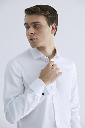 Ds Damat Slim Fit Beyaz Düz Nano Care Gömlek - 8681779842637 | D'S Damat