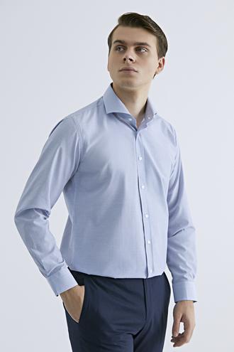 Ds Damat Slim Fit Mavi Pötikare Gömlek - 8682060895424 | D'S Damat